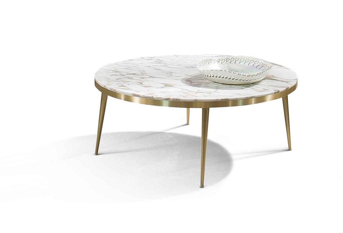 ART. 3341, Tavolino con piano tondo in marmo Calacatta