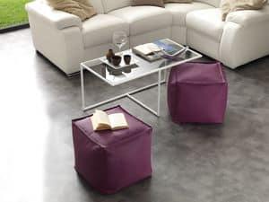 Art. 791 Magic Half, Tavolino in vetro con struttura in metallo verniciato