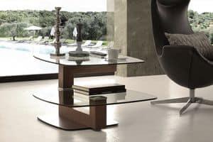 Art. 844 Tolomeo, Tavolino moderno in vetro e noce, con ripiano snodabile