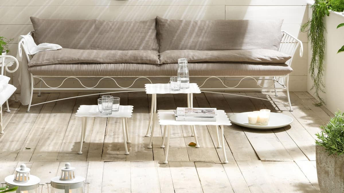 Bahamas tavolino, Tavolino per centro sala, piano in ferro sagomato