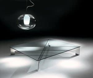 Bridge 1, Tavolino in acciaio con piano in vetro trasparente