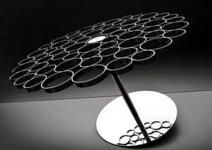 Bubble, Tavolino in acciaio e vetro, design originale del piano