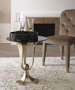Calice tavolino, Tavolino in ferro curvato, levigato a mano, piano in vetro