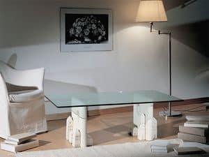 Carioca, Tavolino moderno in pietra con piano in vetro