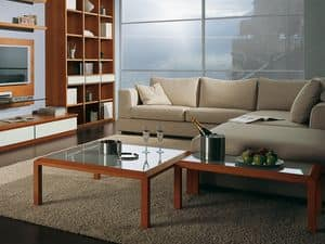 Complementi Tavolino Vetro 02, Tavolino in legno e vetro per centro sala