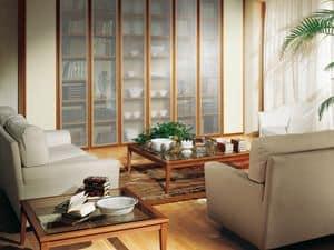 Complementi Tavolino Vetro 07, Tavolino con base in legno e piano in vetro trasparente
