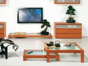 Complementi Tavolino Vetro 09, Tavolino in legno e vetro, fatto con materiali durevoli