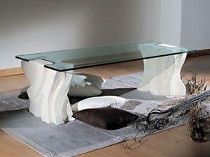 Contrasto Sagomato, Elegante tavolino per salotti, in pietra e cristallo