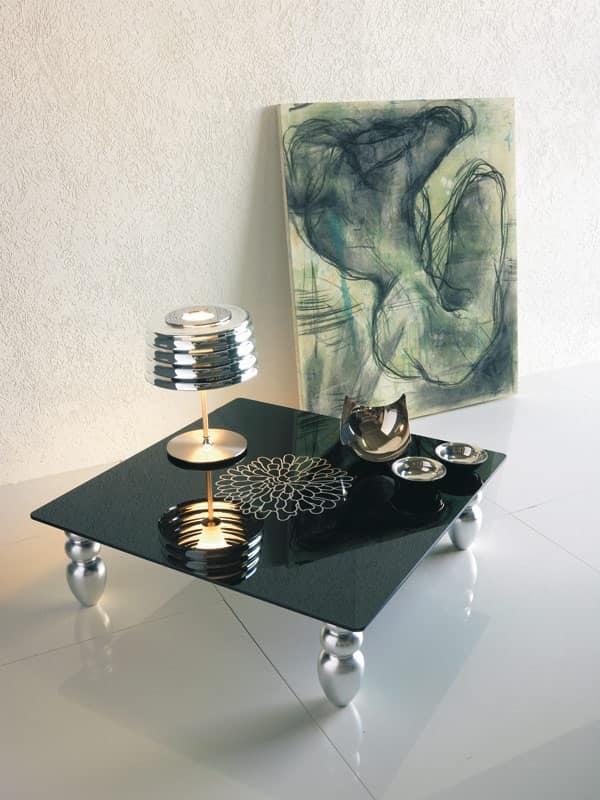 Tavolino per salotto gambe in legno sagomato idfdesign for Tavolino per salotto