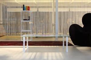 dl900 ottawa, Tavolino con gambe in legno, piano in cristallo lineare