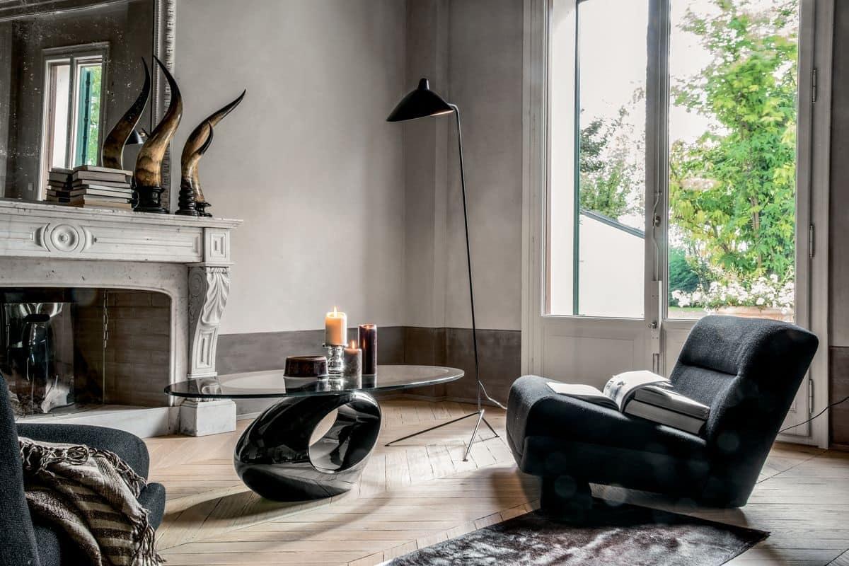 Tavolino con base in marmo piano ellittico in vetro temperato idfdesign - Tavolini tonin casa ...