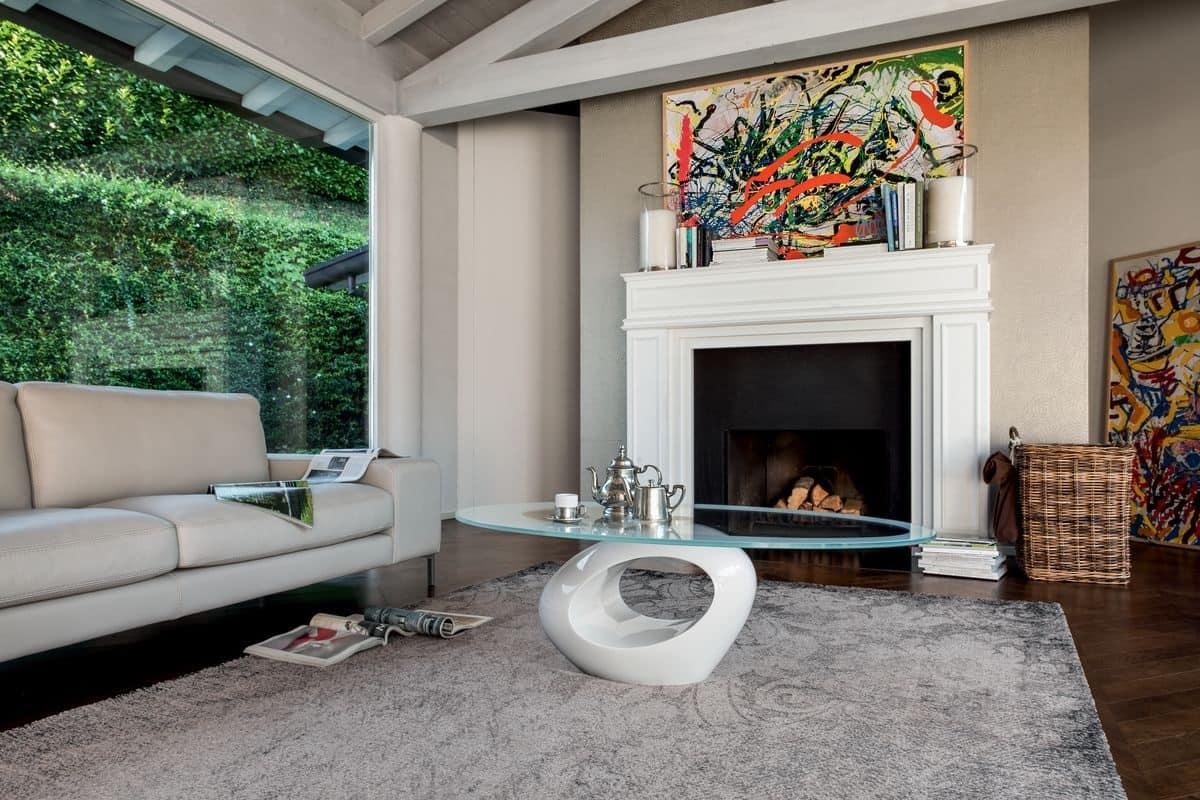 Tavolino con base in marmo piano ellittico in vetro for Tavolini moderni