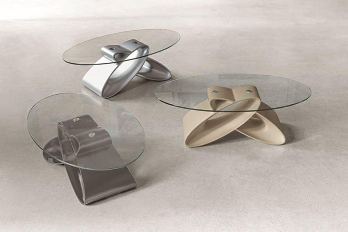 Tavolino ovale per salotti moderni idfdesign for Tavolini vetro