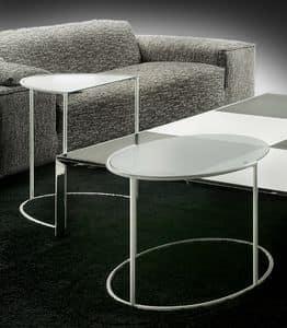 Eggs, Tavolino ovale in acciaio e vetro, per salotti alla moda