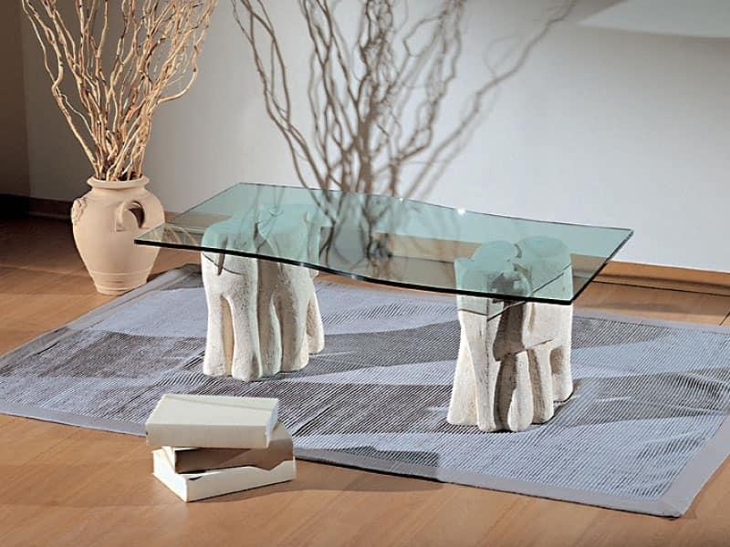 Elefantini, Tavolino per salotti, in pietra e vetro