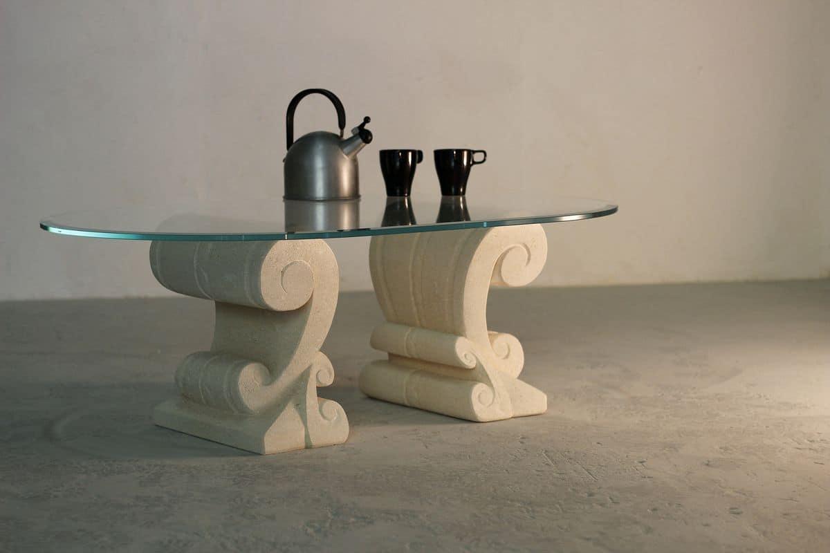 Eliseo, Tavolino con doppia base in pietra scolpita artigianalmente