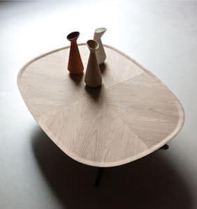 Embrace tavolino, Tavolino moderno, struttura in metallo, piano in legno, per aree relax
