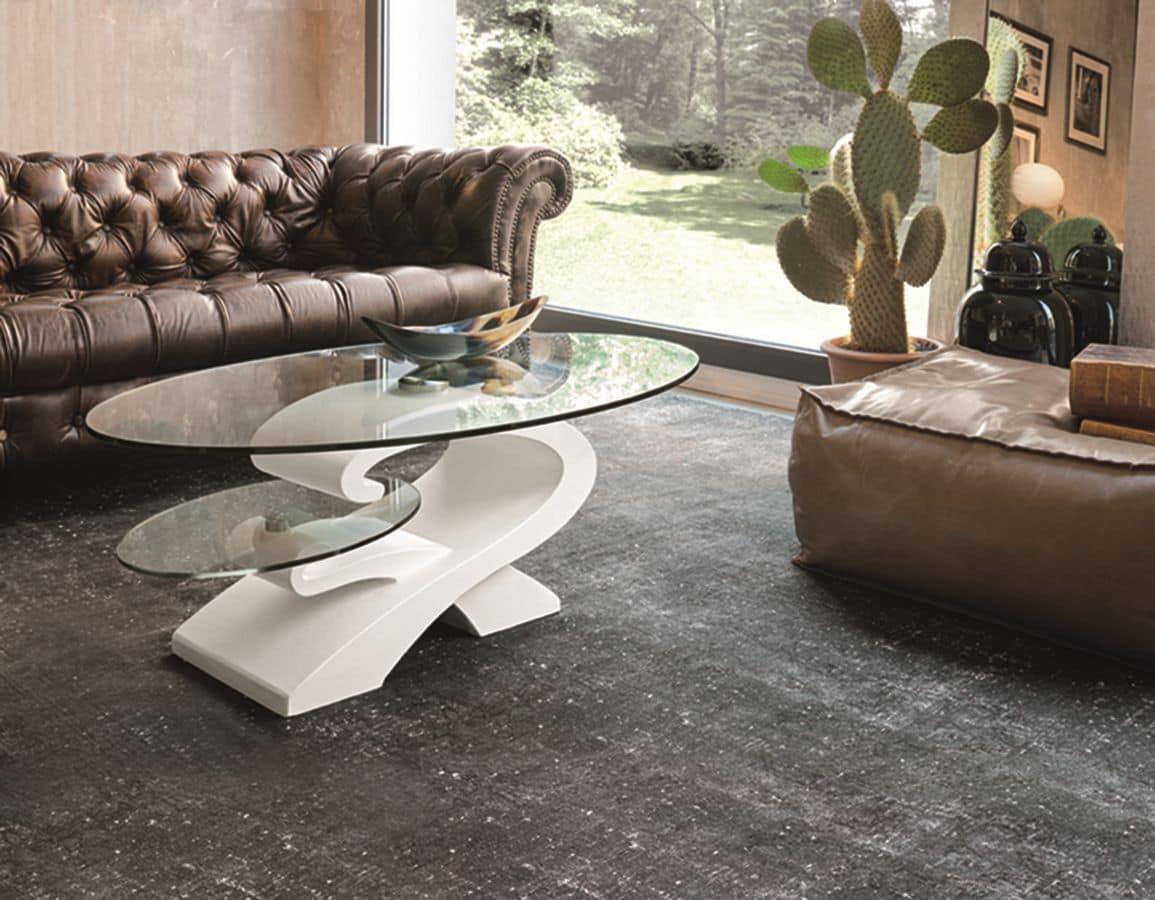 Tavolini da salotto con piano in vetro idfdesign for Tavolini design salotto