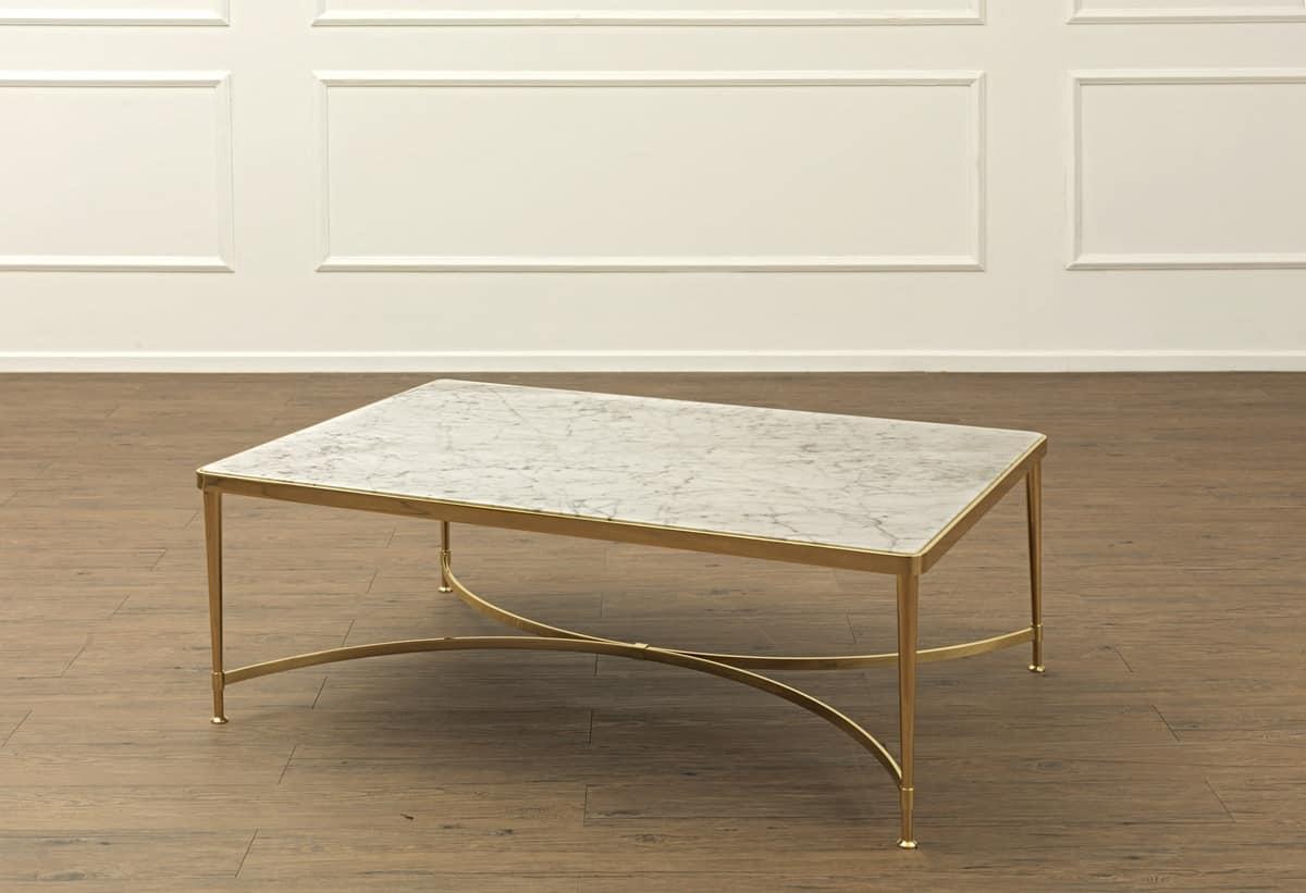Tavolino per centro sala in ottone con piano in marmo for Tavolini per ufficio