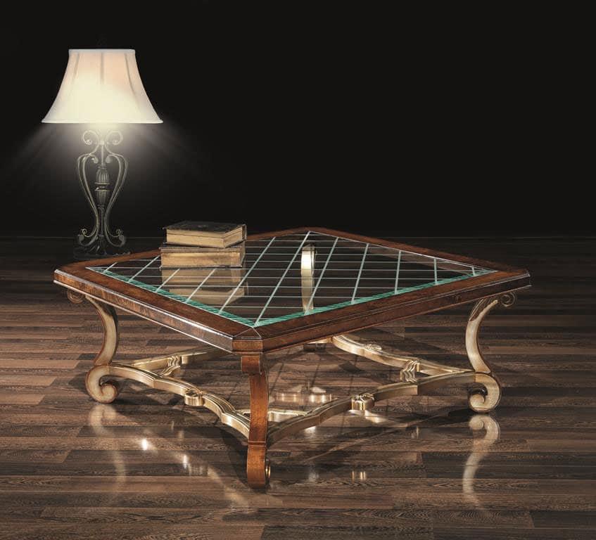 GARY tavolino 8684T, Tavolino centro sala, in legno decorato, con piano in vetro
