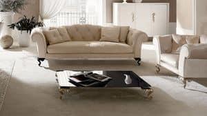 George tavolino, Tavolino per centro sala, piano in vetro, piedi in alluminio
