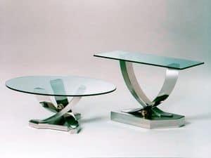 Giverny, Tavolino con base in acciaio INOX, piano in vetro temperato