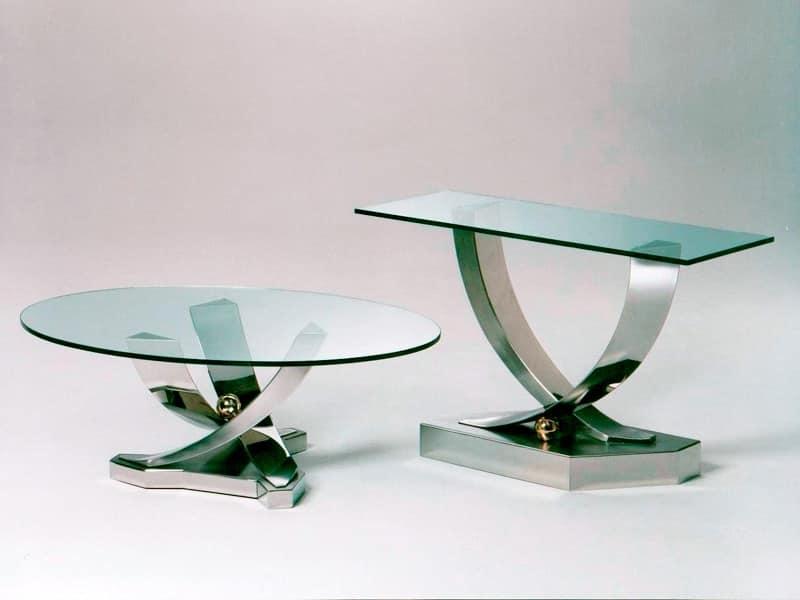 Tavolino con base in acciaio INOX, piano in vetro temperato ...