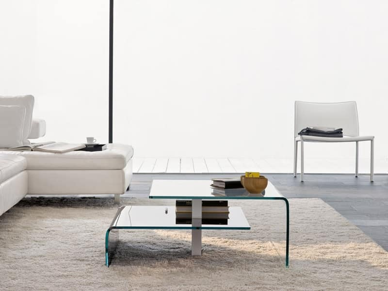 Tavolino da soggiorno con due piani in vetro idfdesign for Tavolini soggiorno moderni