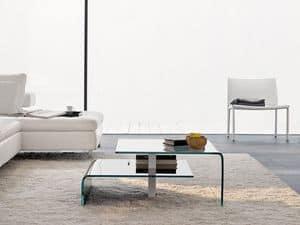 HARROW, Tavolino da soggiorno con due piani in vetro