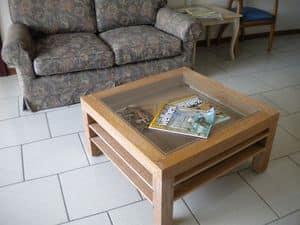 Jolly, Tavolino in legno e vetro, piani estraibili, per salotto