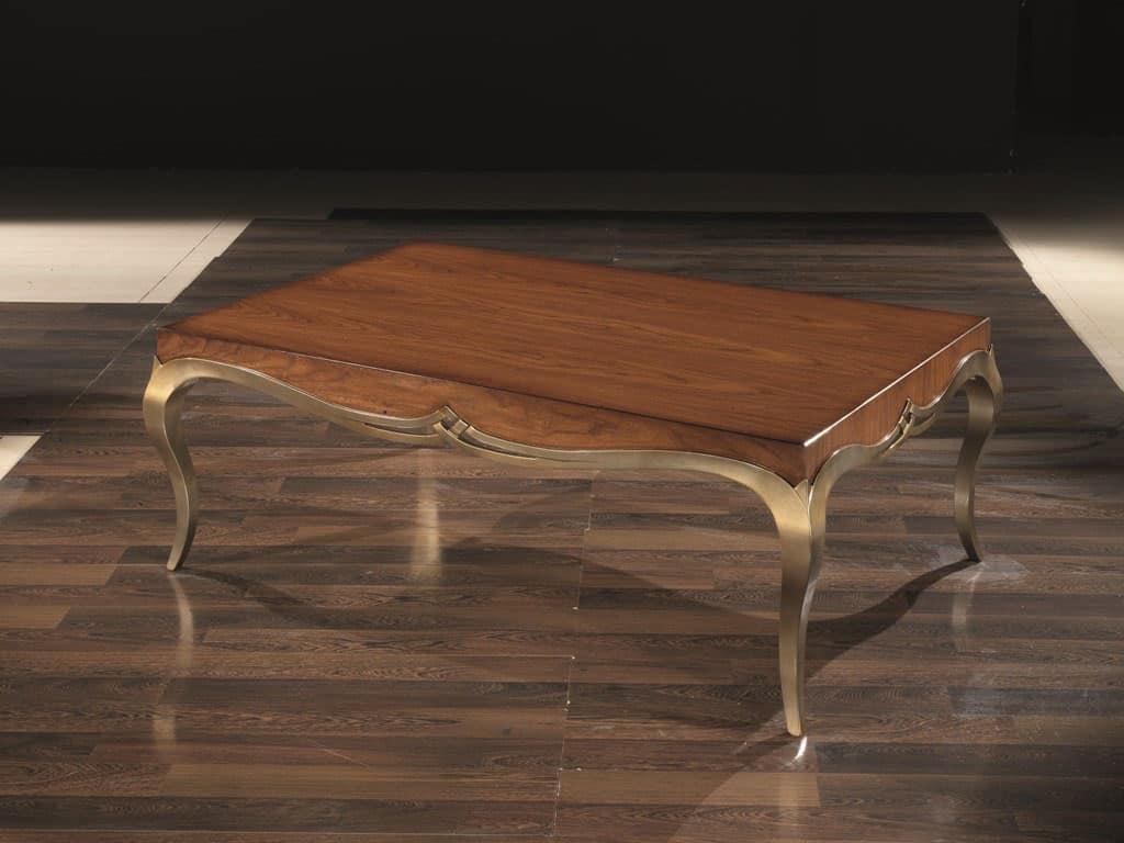 LOVE tavolino 8679T, Tavolino rettangolare in legno massello, per salotti