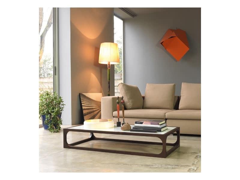 Tavolino in legno massello con piano in cristallo idfdesign for Tavolini salotto amazon