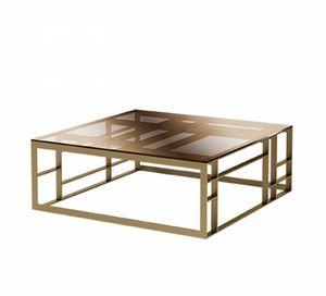 Matrix tavolino quadrato, Tavolino da salotto, con ampio piano quadrato in vetro