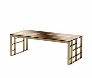 Matrix tavolino rettangolare, Tavolino rettangolare, in metallo finitura bronzo anticato