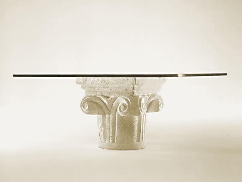 Tavolino per salotto base in pietra idfdesign for Tavolini vetro