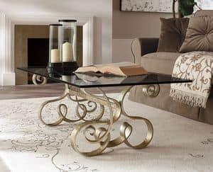 Mirò tavolino, Tavolino in ferro curvato, con piano in vetro trasparente