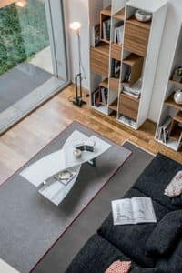 MISSOURI, Tavolino per centro sala, piani in vetro, base in metallo