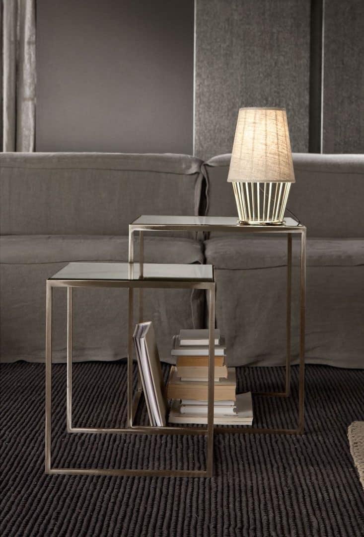 Narciso tavolino, Tavolino in ferro, piano in specchio
