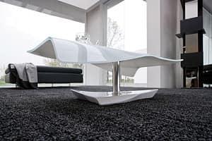 NAVILE, Tavolo basso in vetro curvato, marmo e metallo, per suite