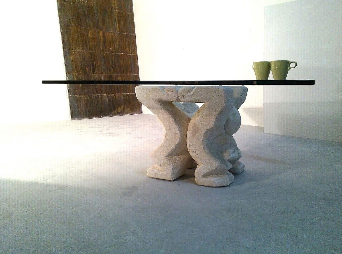 Tavolino per casa o ufficio con colonna portante in for Tavolini per ufficio