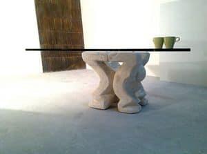 Omini tavolino, Tavolino per casa o ufficio, con colonna portante in pietra