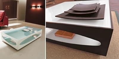 OSOWA, Tavolino in vetro temperato e legno traforato, per albergo