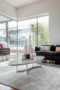 PARIOLI, Tavolino da salotto, piano ellittico in marmo, base in metallo