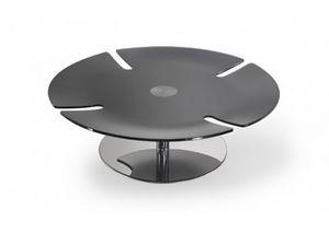 Pegaso, Tavolino con piano tondo in cristallo