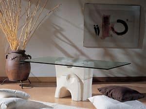 Pesceluna, Tavolino con piano di cristallo vincolato da flange