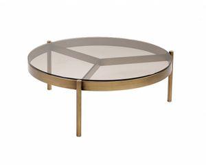 Piccadilly tavolino basso, Tavolino tondo, con piano in vetro bronzato