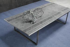 Pi� coffee table, Tavolino con piano in betulla, base satinata, bronzato