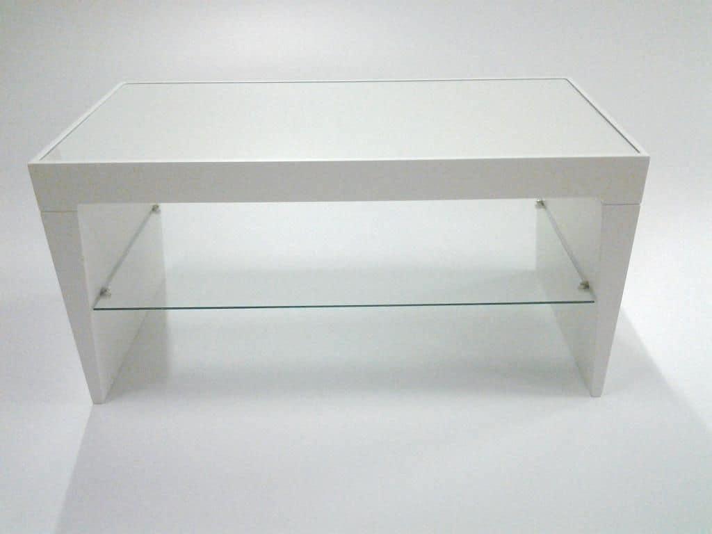 Pop, Tavolino moderno, ripiano in vetro, piano rettangolare