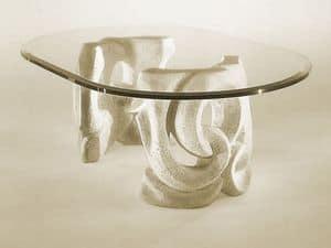 Prince, Tavolino con base in pietra e piano in cristallo