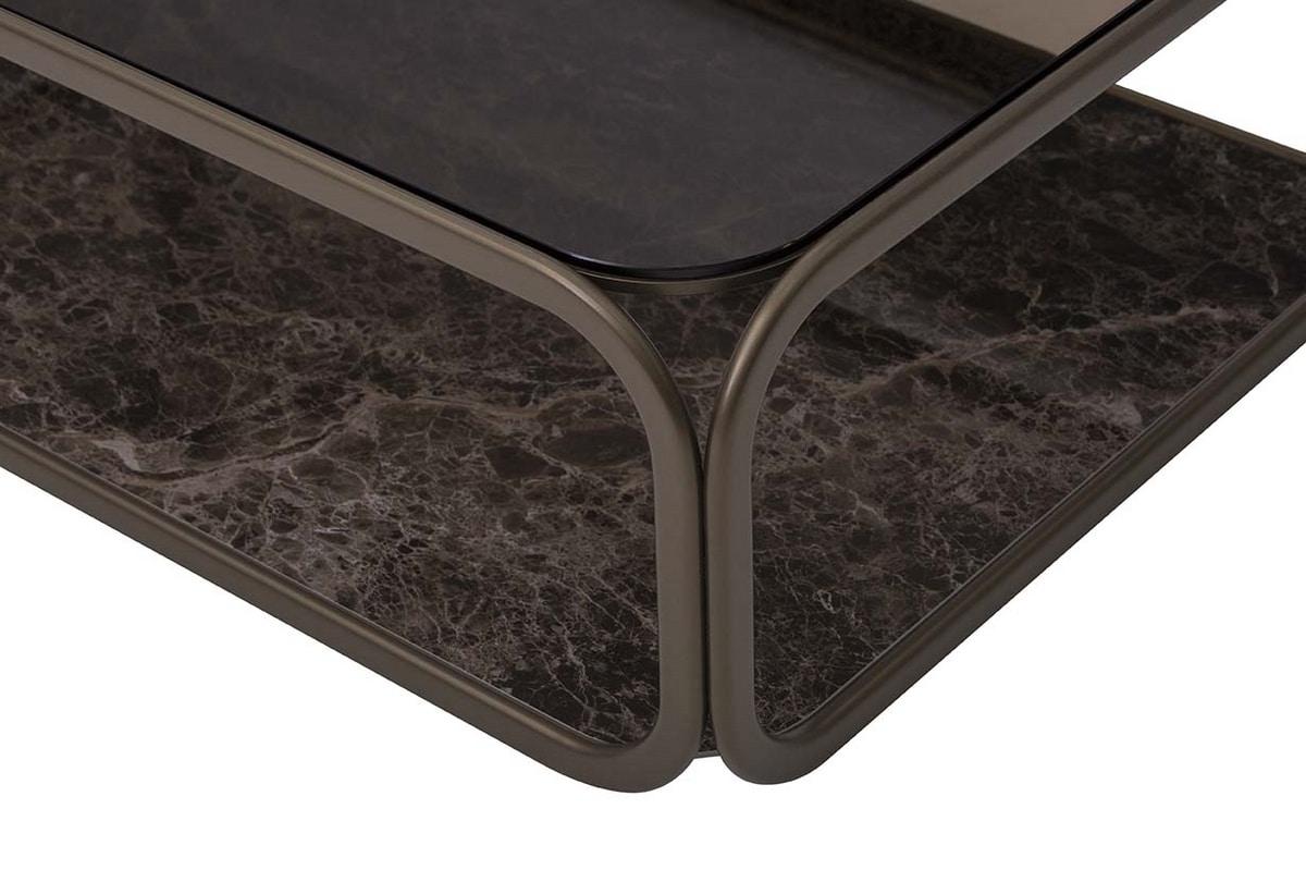 REMIND, Tavolini con struttura in metallo, top in vetro e base in gres porcellanato
